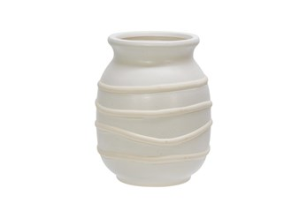 Cl 7 Inch Striped White Vase