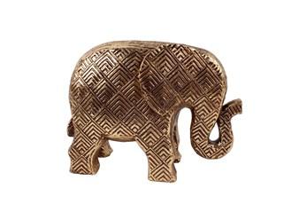 Rl 7 Inch Gold Patterened Elephant