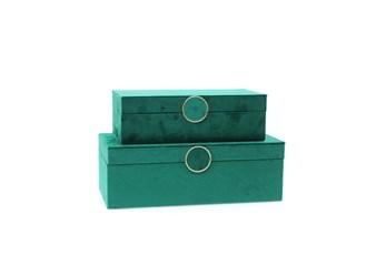 Cl Emerald Velvet Jewelry Box Set Of 2