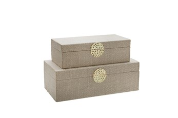 White + Gold Medallion Boxes Set Of 2