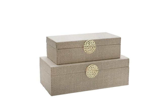 White + Gold Medallion Boxes Set Of 2 - 360