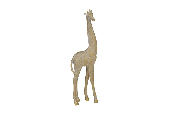 17 Inch Turned Head Gold Giraffe Figurine - 360