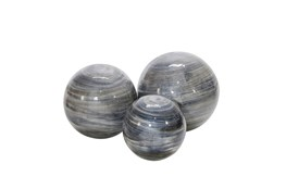 Swirl Blue Gray Ball Decor Set Of 3