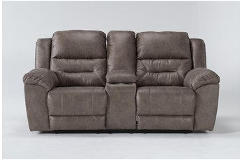 "Stoneland Fossil 82"" Reclining Loveseat With Console"