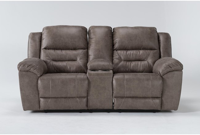 """Stoneland Fossil 82"""" Reclining Loveseat With Console - 360"""