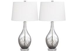 Table Lamp-Ash Grey Glass And Crystal Set