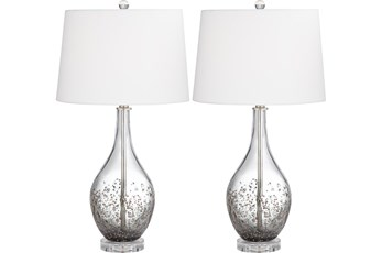 Table Lamp-Ash Grey Glass And Crystal Set