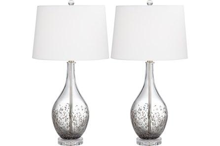 Table Lamp-Ash Grey Glass And Crystal Set - Main