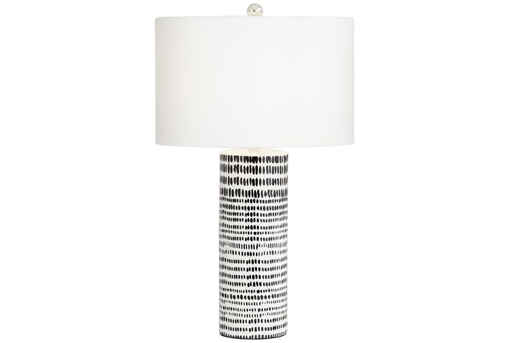 Table Lamp-White With Black Stripes