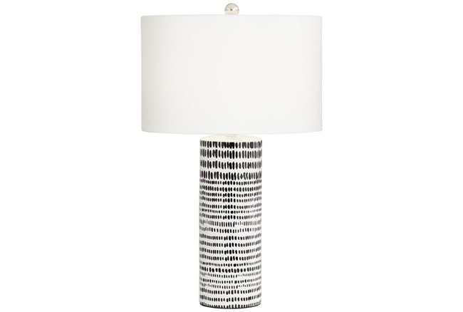 Table Lamp-White With Black Stripes - 360