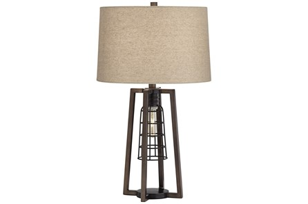 Table Lamp-Antique Nickel Caged Light - Main