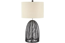 Table Lamp-Black Rope Cage