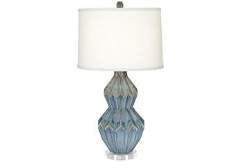 Table Lamp-Zig Zag Blue Ceramic