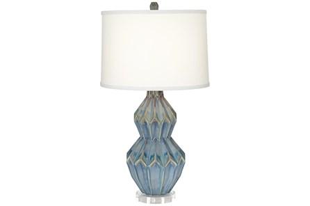 Table Lamp-Zig Zag Blue Ceramic - Main