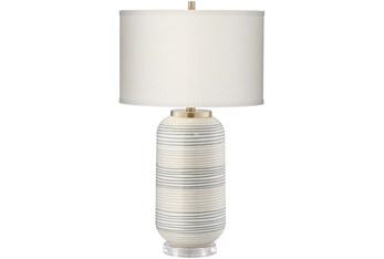 Table Lamp-Off White Striped