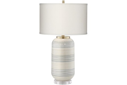 Table Lamp-Off White Striped - Main