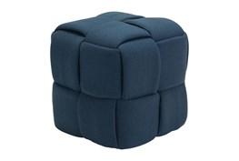 Navy Blue Fabric Weave Ottoman
