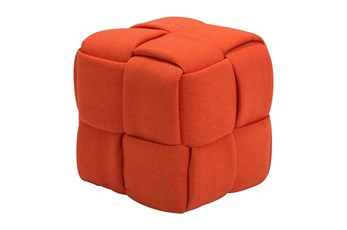 Orange Fabric Weave Ottoman