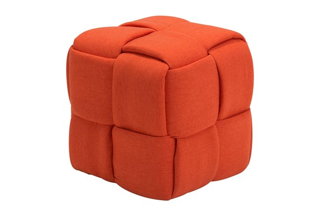 Orange Fabric Weave Ottoman - 360