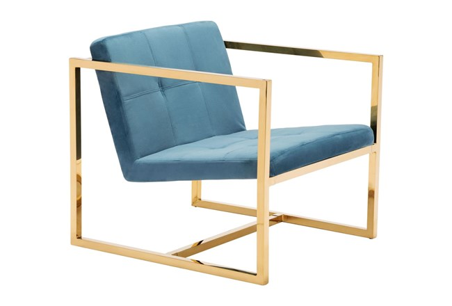 Gold Framed Soft Blue Accent Chair - 360