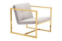 Gold Framed Grey Accent Chair