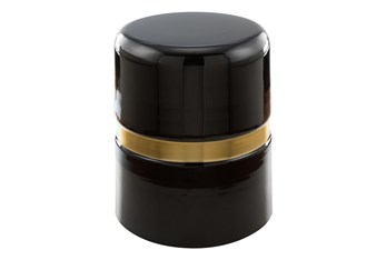 Round Gold + Black Accent Table