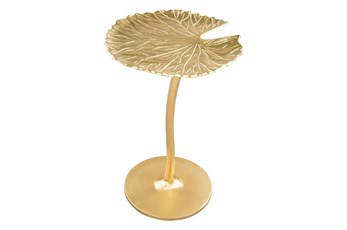Gold Palm Leaf Accent Table
