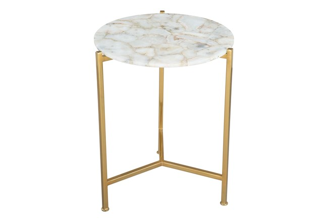 Gold + White Accent Table - 360