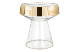 Tempered Clear Glass + Gold Accent Table