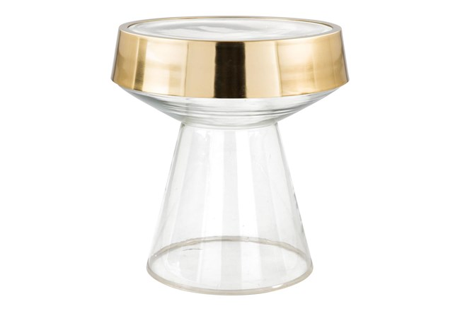 Tempered Clear Glass + Gold Accent Table - 360