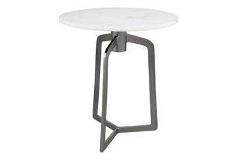 White Marble + Black Accent Table