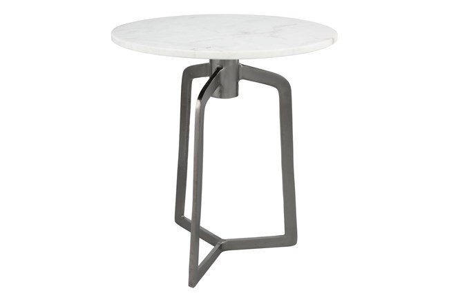 White Marble + Black Accent Table - 360