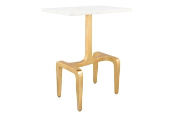 White Marble + Gold Accent Table
