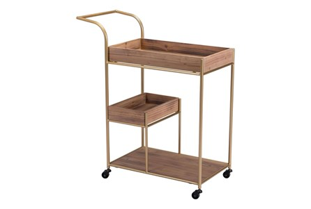 Bar Cart With Brown Trays - Main