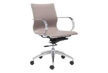 Low Back Taupe Desk Chair
