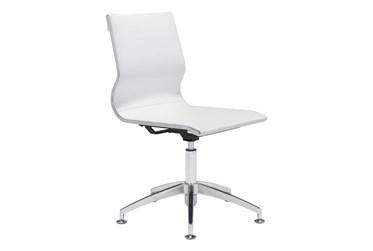 Armless White Desk Chair