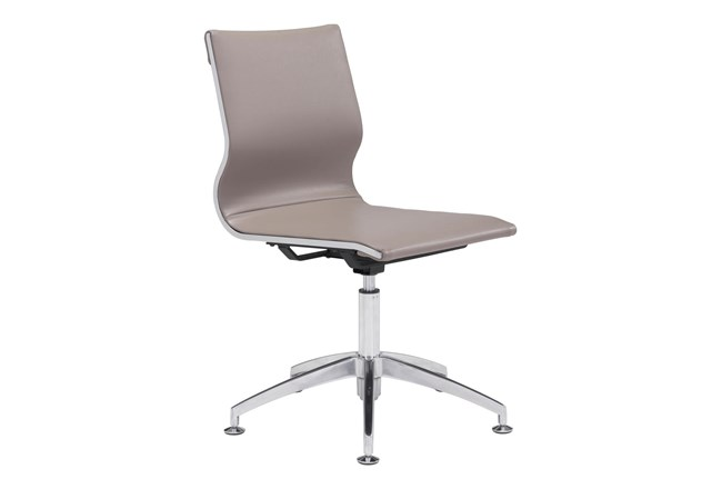 Armless Taupe Office Chair - 360