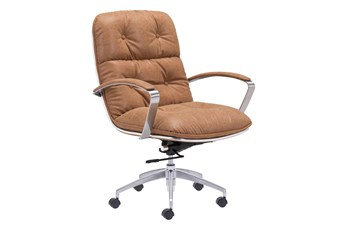 Channel Back Latte Desk Chair