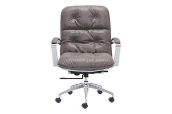Channel Back Grey Desk Chair