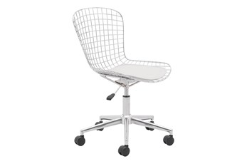Wire Metal White Cushion Office Chair