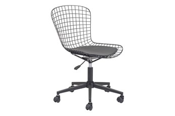 Wire Metal Black Cushion Office Chair