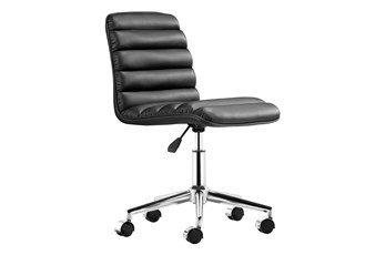 Channel Back Black Armless Office Chair