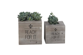 Rl  Rustic Wood And Iron Planters Set Of 2