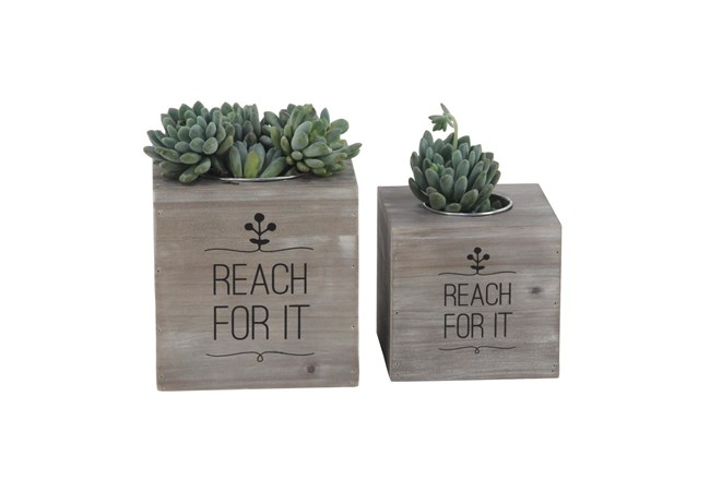 Rl  Rustic Wood And Iron Planters Set Of 2 - 360