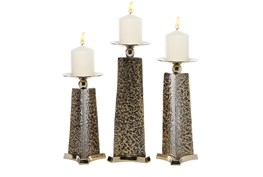Ml Metal Brass And Black Textured Candle Holders