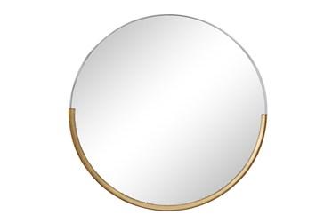 Ml 34 Inch Round Mirror With Brass Trim
