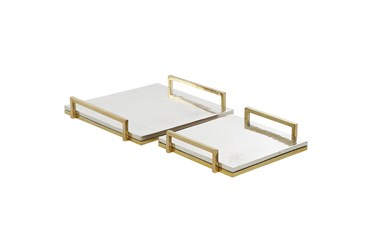 Silver And Gold Trays Set Of 2
