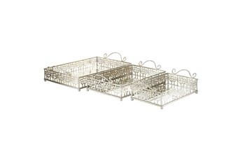 2 Inch Silver Metal Mirror Tray Set Of 3