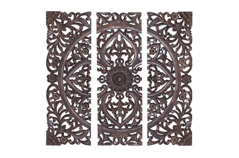 36 Inch Brown Wood Wall Decor Panel Set Of 3