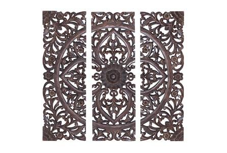 36 Inch Brown Wood Wall Decor Panel Set Of 3 - Main
